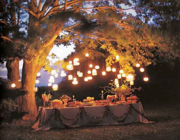 Lights at a Garden Party Wedding