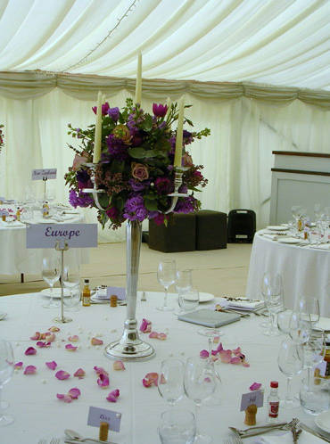 Purple Table Centrepiece