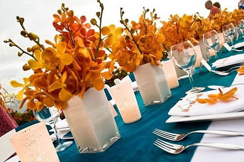Turquoise and Orange Wedding