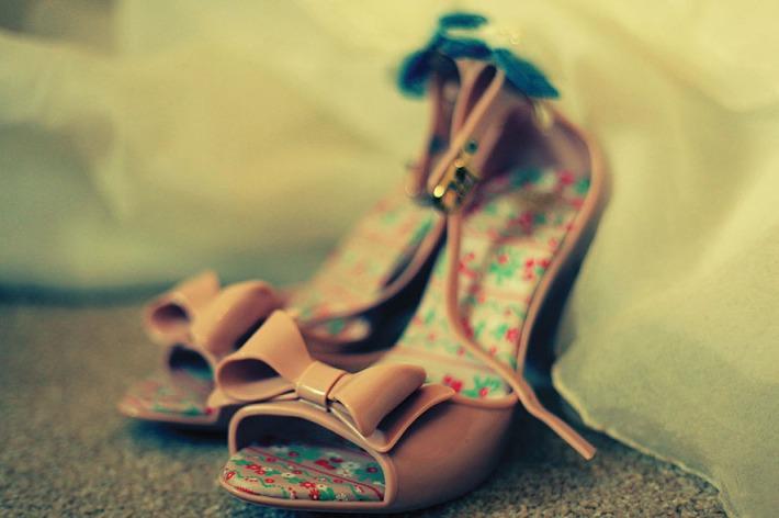 Vintage Dusky Pink Wedding Shoes