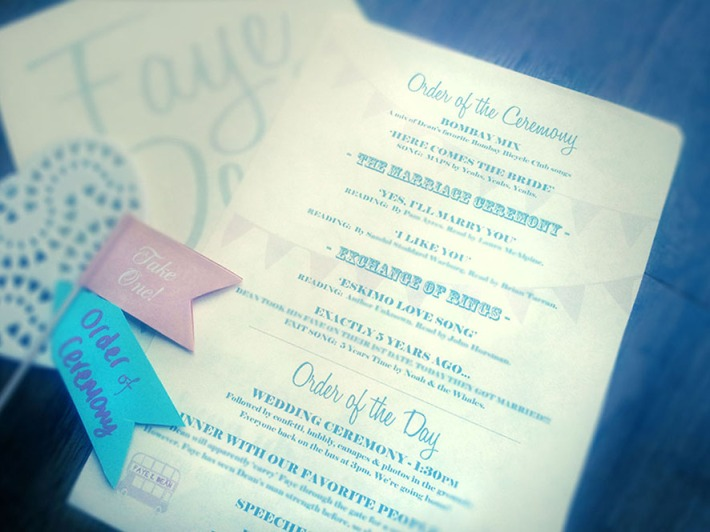 "Order of Service - ""Love Vintage"" by Curly Chops Design"