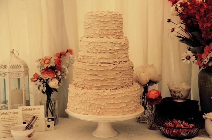 Beautiful Ruffle Inspired Wedding Cake
