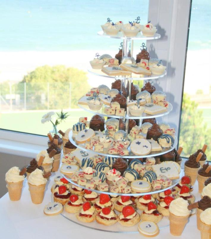 Nautical Treat Tower! With Scones, Ice Cream Cone Cupcakes, Brownie Bites, Cookies and lots more!