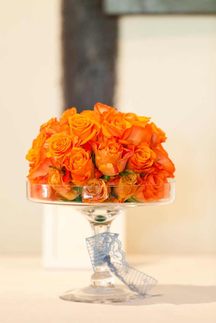 Table Centrepieces with Orange Roses