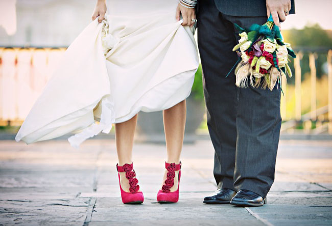 Red Floral Wedding Shoes
