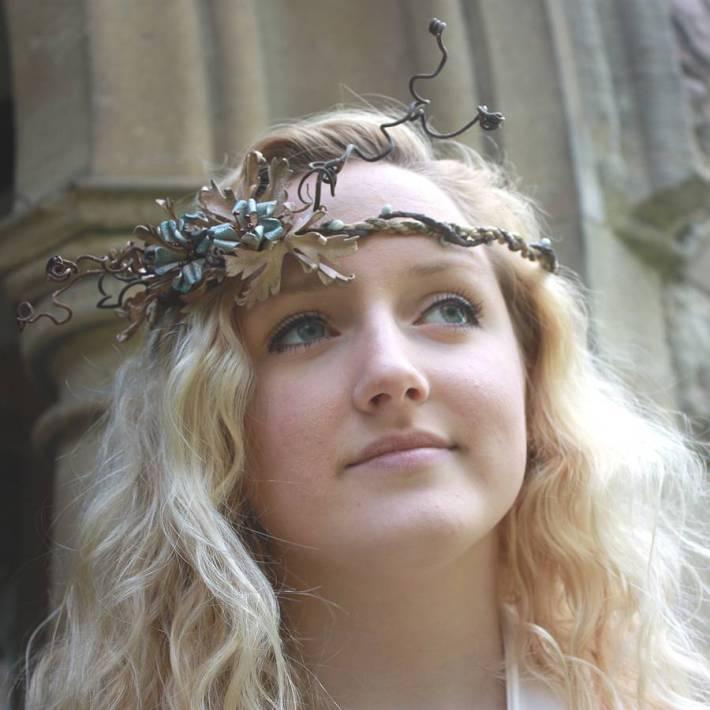 Seafoam Leather Bridal Crown