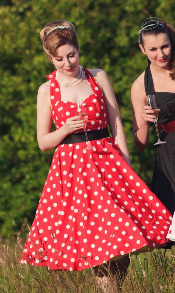 Red & White Polka Dot Halterneck