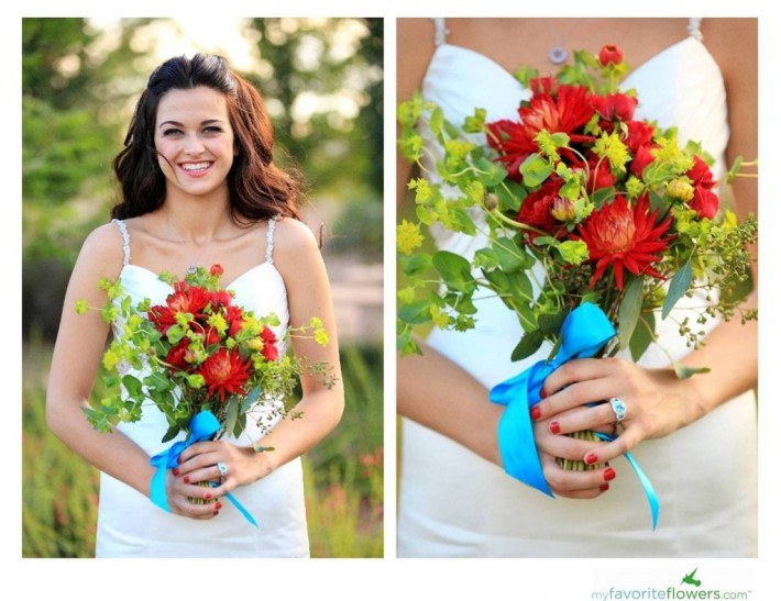 Summer Bridal Bouquet with Dahlias & Roses