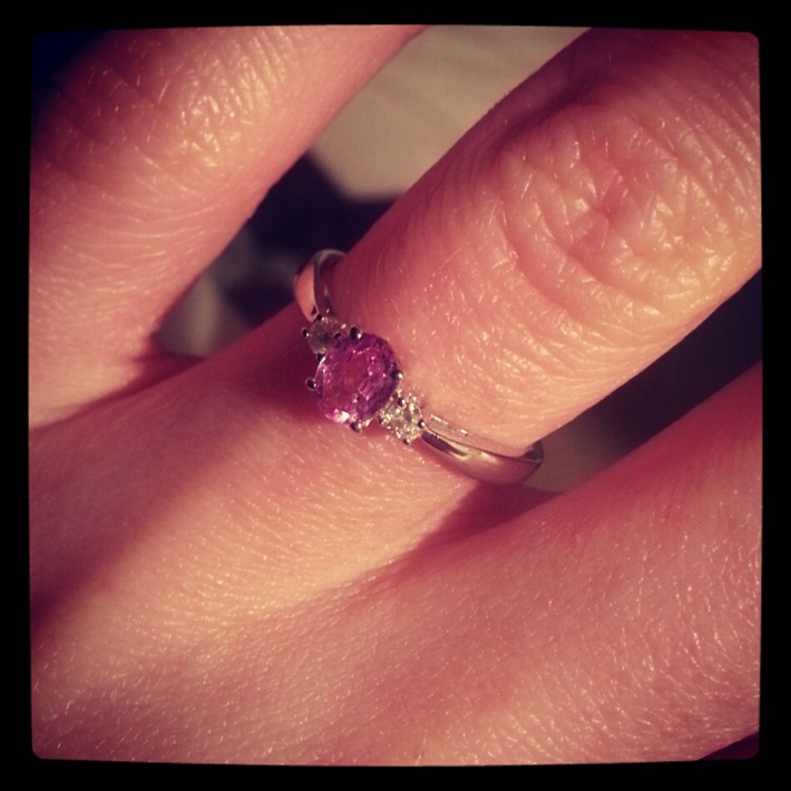 Engagement Ring - Pink Sapphire & Diamond