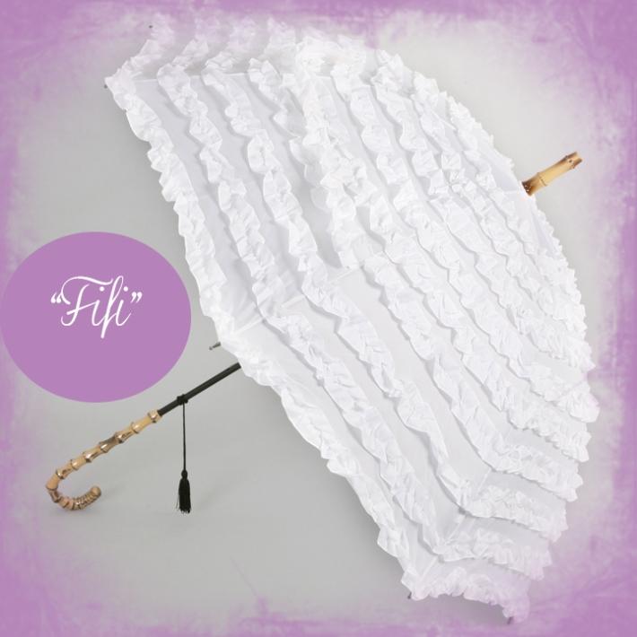 White Frilly Wedding Umbrella