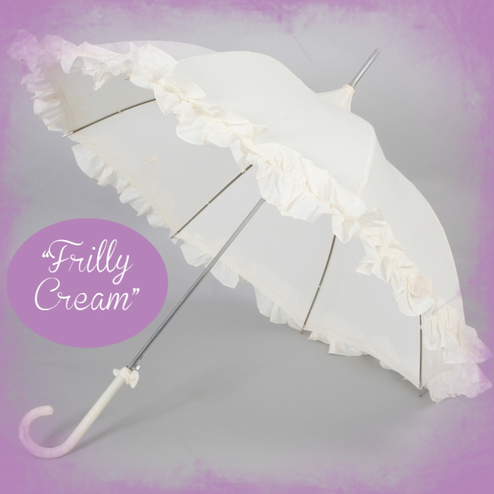 Frilly Cream Wedding Umbrella
