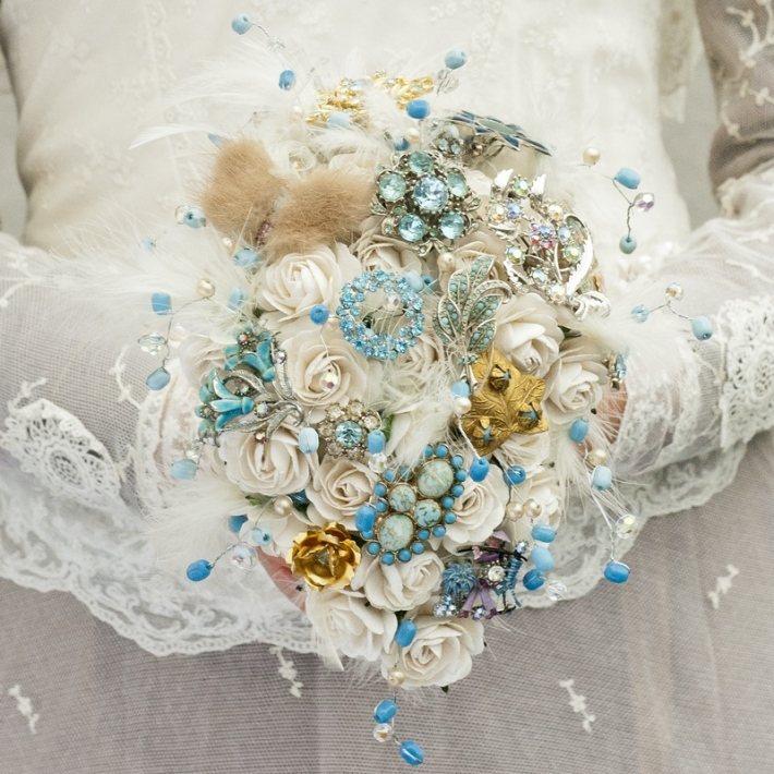 Aqua Brooch Bouquet
